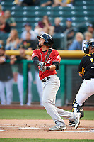 Noel Cuevas (27) of the Albuquerque Isotopes bats against the Salt Lake Bees in Pacific Coast League action at Smith's Ballpark on June 10, 2017 in Salt Lake City, Utah. The Isotopes defeated the Bees 4-2. (Stephen Smith/Four Seam Images)