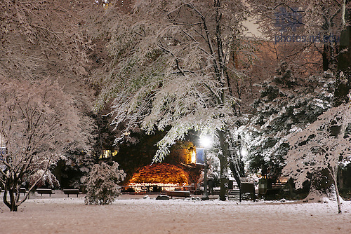 Grotto after snowfall, Thanksgiving night.<br /> <br /> Photo by Matt Cashore/University of Notre Dame