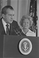 President Richard Nixon (with wife Pat)  Resignation At White House In Washington On August 9th 1974 - A break in at the Democratic National Committee headquarters at the Watergate complex on June 17, 1972 results in one of the biggest political scandals the US government has ever seen.  Effects of the scandal ultimately led to the resignation of  President Richard Nixon, on August 9, 1974, the first and only resignation of any U.S. President.
