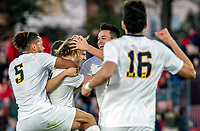 COLLEGE PARK, MD - NOVEMBER 03: Jack Hallahan #11 of Michigan after scoring during a game between Michigan and Maryland at Ludwig Field on November 03, 2019 in College Park, Maryland.