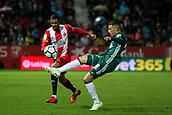 13th April 2018, Estadi Montilivi, Girona, Spain; La Liga football, Girona versus Real Betis; Ramalho of Girona watches as Tello of Betis clears the ball