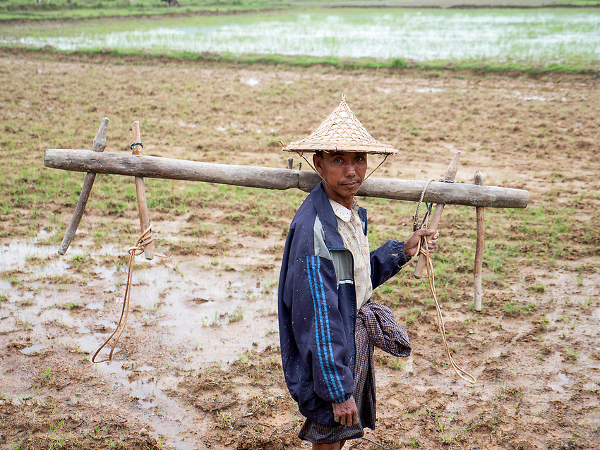 Portrait of a farmer in the outside Mrauk U Town, Rakhine State, Myanmar
