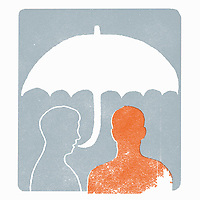 Man talking in umbrella speech bubble to other person ExclusiveImage