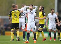 Bolton Wanderers Adam Le Fondre looks dejected as the game ends<br /> <br /> Photographer Mick Walker/CameraSport<br /> <br /> The EFL Sky Bet Championship - Burton Albion v Bolton Wanderers - Saturday 28th April 2018 - Pirelli Stadium - Burton upon Trent<br /> <br /> World Copyright &copy; 2018 CameraSport. All rights reserved. 43 Linden Ave. Countesthorpe. Leicester. England. LE8 5PG - Tel: +44 (0) 116 277 4147 - admin@camerasport.com - www.camerasport.com