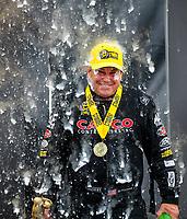 Aug 19, 2018; Brainerd, MN, USA; NHRA top fuel driver Billy Torrence celebrates after winning the Lucas Oil Nationals at Brainerd International Raceway. Mandatory Credit: Mark J. Rebilas-USA TODAY Sports
