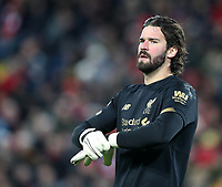 24th February 2020; Anfield, Liverpool, Merseyside, England; English Premier League Football, Liverpool versus West Ham United; Liverpool goalkeeper Alisson Becker