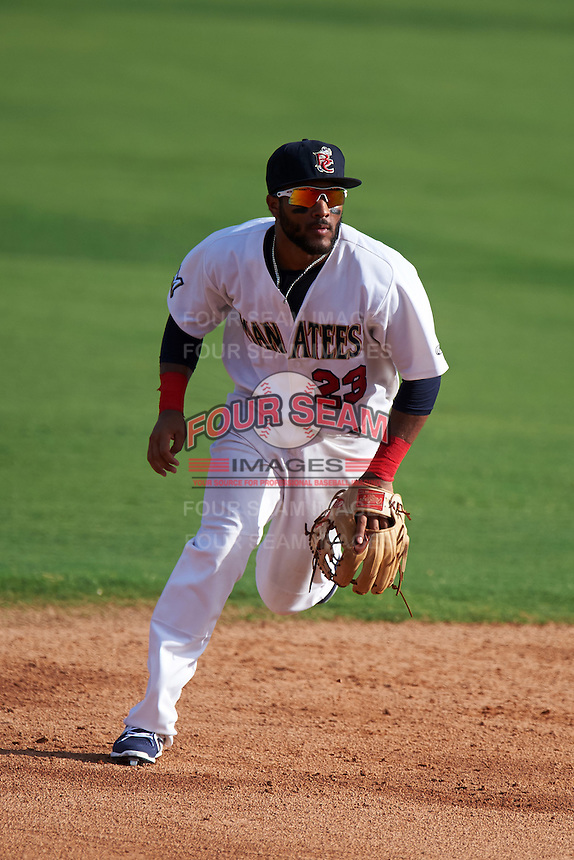 Brevard County Manatees shortstop Wendell Rijo (23) during a game against the Daytona Tortugas on August 14, 2016 at Space Coast Stadium in Viera, Florida.  Daytona defeated Brevard County 9-3.  (Mike Janes/Four Seam Images)