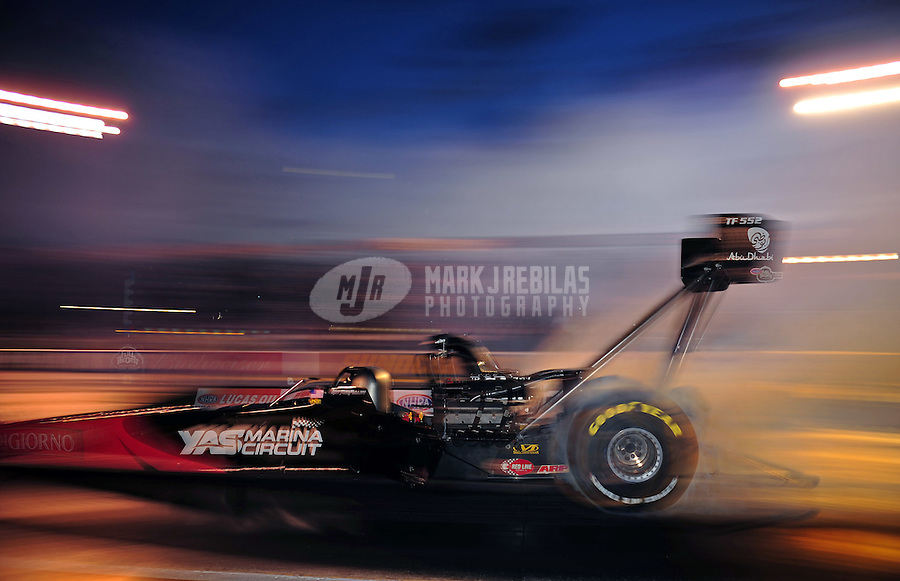 Sept. 30, 2011; Mohnton, PA, USA: NHRA top fuel dragster driver Rod Fuller during qualifying for the Auto Plus Nationals at Maple Grove Raceway. Mandatory Credit: Mark J. Rebilas-