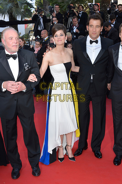 James Caan, Marion Cotillard, Clive Owen.'Blood Ties' premiere at the 66th  Cannes Film Festival, France..20th May 2013.full length bow tie shirt white black tuxedo yellow strapless dress beard facial hair blue pleats pleated  .CAP/PL.©Phil Loftus/Capital Pictures.