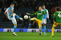Preston North End's Tom Barkhuizen vies for possession with Blackburn Rovers' Bradley Johnson<br /> <br /> Photographer Kevin Barnes/CameraSport<br /> <br /> The EFL Sky Bet Championship - Blackburn Rovers v Preston North End - Saturday 11th January 2020 - Ewood Park - Blackburn<br /> <br /> World Copyright © 2020 CameraSport. All rights reserved. 43 Linden Ave. Countesthorpe. Leicester. England. LE8 5PG - Tel: +44 (0) 116 277 4147 - admin@camerasport.com - www.camerasport.com