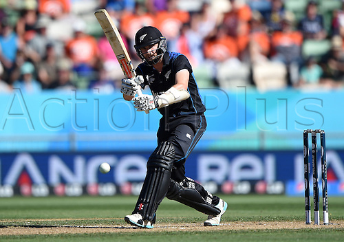 08.03.2015. Napier, New Zealand.  Kane Williamson batting during the ICC Cricket World Cup match between New Zealand and Afghanistan at McLean Park in Napier, New Zealand. Sunday 8 March 2015.