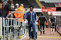 SWANSEA, WALES - MAY 17: Wilfried Bony of Manchester City arrives prior to the Premier League match between Swansea City and Manchester City at The Liberty Stadium on May 17, 2015 in Swansea, Wales. (photo by Athena Pictures/Getty Images)