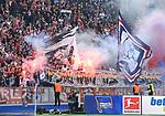 14.04.2018, OLympiastadion, Berlin, GER, 1.FBL, Hertha BSC VS. 1.FC Koeln, im Bild <br /> Koelner-Fanblock , Phyrotechnik<br /> <br /> <br />       <br /> Foto &copy; nordphoto / Engler
