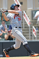 Hagerstown Suns Bryce Harper #34 swings at a pitch during a game against the Kannapolis Intimidators at Fieldcrest Cannon Stadium in Kannapolis,  North Carolina;  May 30, 2011.  The Intimidators won the game 3-0.  Photo By Tony Farlow/Four Seam Images
