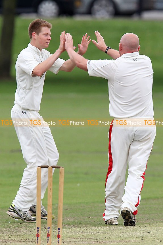 Hornchurch claim the fourth Upminster wicket - Hornchurch CC (fielding) vs Upminster CC - Essex Cricket League at Harrow Lodge - 01/09/12 - MANDATORY CREDIT: Gavin Ellis/TGSPHOTO - Self billing applies where appropriate - 0845 094 6026 - contact@tgsphoto.co.uk - NO UNPAID USE.