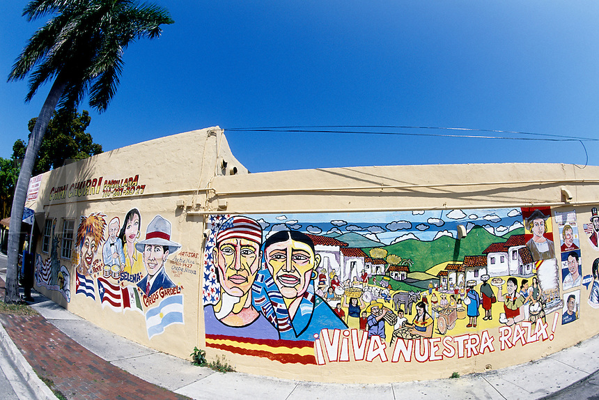 Cuba Painting wall mural in Little Havana, Miami, Florida.