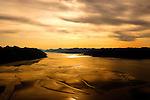 Sun setting in Bristol Bay, Alaska.