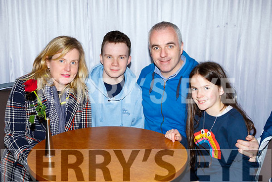 Testing their brain matter at the Muckross RC quiz in the Killarney Oaks on Thursday night were Mary, Ben, Fergal and Faye O'Carroll