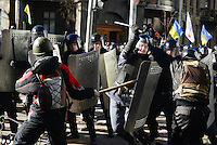 Clashes between protesters and  the riot police. Kiev, Ukraine