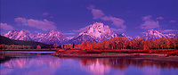 937000020 panoramic dawn light on the teton range at the oxbow bend of the snake river on an autumn morning with fall colored aspens in grand tetons national park wyoming