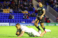 PICTURE BY ALEX WHITEHEAD/SWPIX.COM - Rugby League - International Origin Match - England vs Exiles - The Halliwell Jones Stadium, Warrington, England - 14/06/13 - England's Leroy Cudjoe scores a try.