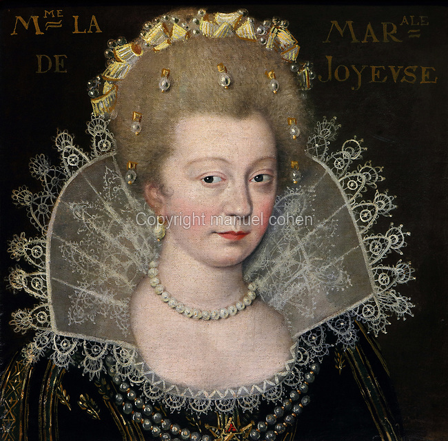 Portrait of Madame la Marale, Duchess of Joyeuse, wearing a lace collar and pearls in her hair, oil painting on canvas, c. 1625, by unknown artist, from the Gallery of portraits from the Chateau de Saint Germain-Beaupre, Creuse, now in the Musee des Beaux-Arts de la Ville de Blois, housed since 1869 on the first floor of the Louis XII wing of the Chateau Royal de Blois, built 13th - 17th century in Blois in the Loire Valley, Loir-et-Cher, Centre, France. The museum originally opened in 1850 in the Francois I wing, but moved here in 1869 after the rooms had been restored by Felix Duban in 1861-66. The chateau has 564 rooms and 75 staircases and is listed as a historic monument and UNESCO World Heritage Site. Picture by Manuel Cohen