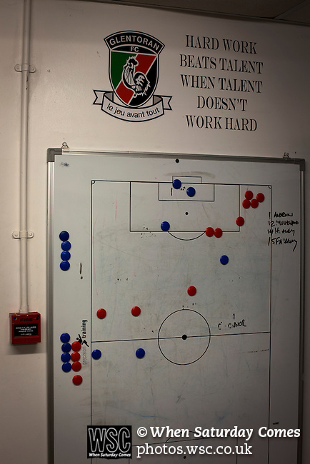 Glentoran 2 Cliftonville 1, 22/10/2016. The Oval, NIFL Premiership. A tactics board in the home dressing room at The Oval, Belfast, pictured before Glentoran hosted city-rivals Cliftonville in an NIFL Premiership match. Glentoran, formed in 1892, have been based at The Oval since their formation and are historically one of Northern Ireland's 'big two' football clubs. They had an unprecendentally bad start to the 2016-17 league campaign, but came from behind to win this fixture 2-1, watched by a crowd of 1872. Photo by Colin McPherson.