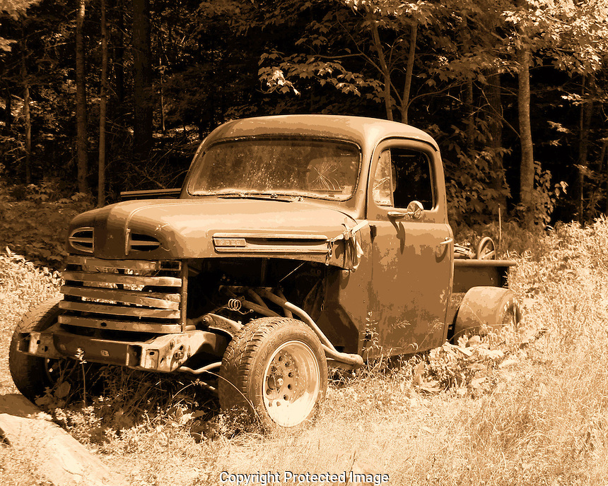 We were on vacation in Freeport Maine when I spotted this truck sitting in front of a mobile hone on a back country road. You can see the engine is not the original and the overall setup suggests this truck did a fair amount of rockin' and rollin'.