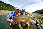 Fly fishing,South Island of New Zealand, John Gemmell, Cathy Beck and a nice brown trout