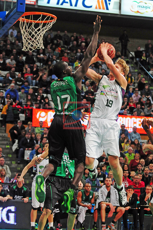 League ACB-Endesa 2014/2015 - Game: 06.<br /> FIATC Joventut vs Unicaja: 82-74.<br /> Sitapha Savane vs Kuzminskas.