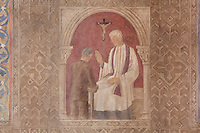 Confession and absolution, small frescoes by Joseph Radan in the ambulatory, depicting the seven sacraments, 20th century, Nanterre Cathedral (Cathédrale Sainte-Geneviève-et-Saint-Maurice de Nanterre), 1924 - 1937, by architects Georges Pradelle and Yves-Marie Froidevaux, Nanterre, Hauts-de-Seine, France. Picture by Manuel Cohen