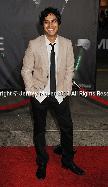 """WESTWOOD, CA - OCTOBER 20: Kunal Nayyar arrives at the """"In Time"""" Los Angeles Premiere at Regency Village Theatre on October 20, 2011 in Westwood, California."""