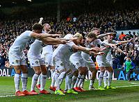 Leeds United's EzgjanAlioski celebrates scoring his side's second goal with teammates<br /> <br /> Photographer Alex Dodd/CameraSport<br /> <br /> The EFL Sky Bet Championship - Leeds United v Bolton Wanderers - Saturday 23rd February 2019 - Elland Road - Leeds<br /> <br /> World Copyright © 2019 CameraSport. All rights reserved. 43 Linden Ave. Countesthorpe. Leicester. England. LE8 5PG - Tel: +44 (0) 116 277 4147 - admin@camerasport.com - www.camerasport.com