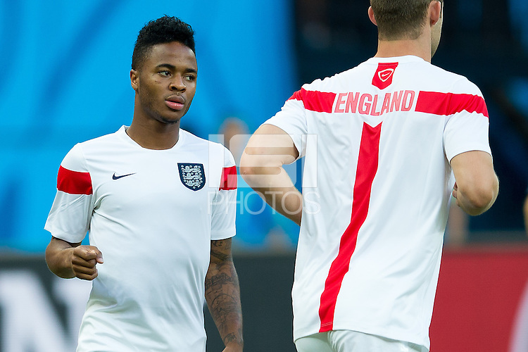 Raheem Sterling of England warms up