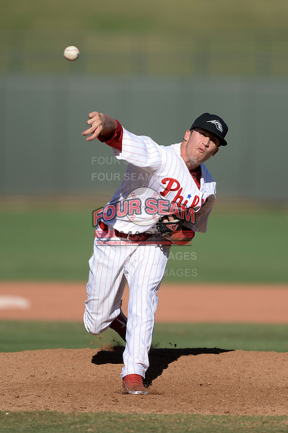 Peoria Javelinas pitcher Ken Giles (51), of the Philadelphia Phillies organization, during an Arizona Fall League game against the Mesa Solar Sox on October 16, 2013 at Surprise Stadium in Surprise, Arizona.  Mesa defeated Peoria 3-1.  (Mike Janes/Four Seam Images)
