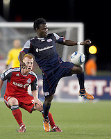 New England Revolution forward Kenny Mansally (7) traps the ball. In a Major League Soccer (MLS) match, the New England Revolution tied Toronto FC, 0-0, at Gillette Stadium on June 15, 2011.