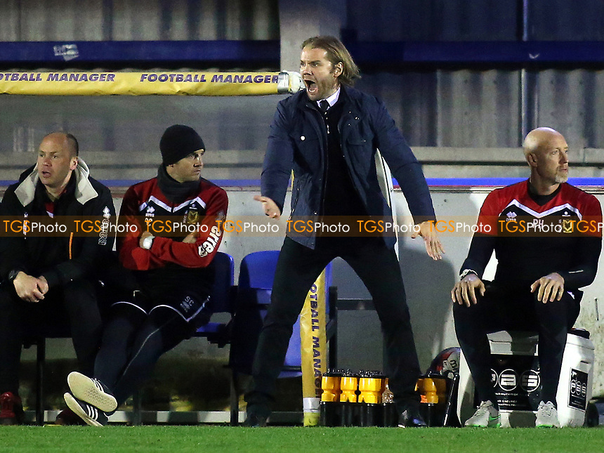 MK Dons Manager, Robbie Neilson during AFC Wimbledon vs MK Dons, Sky Bet EFL League 1 Football at the Cherry Red Records Stadium on 14th March 2017