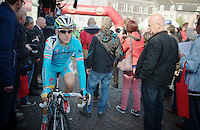 2012 Amstel winner Enrico Gasparotto (ITA/Astana) rides through the start crowd almost anonymously f<br /> <br /> Amstel Gold Race 2014