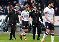 Bolton Wanderers' Luca Connell leaves the pitch injured  <br /> <br /> Photographer Andrew Kearns/CameraSport<br /> <br /> The EFL Sky Bet Championship - Bolton Wanderers v Preston North End - Saturday 9th February 2019 - University of Bolton Stadium - Bolton<br /> <br /> World Copyright &copy; 2019 CameraSport. All rights reserved. 43 Linden Ave. Countesthorpe. Leicester. England. LE8 5PG - Tel: +44 (0) 116 277 4147 - admin@camerasport.com - www.camerasport.com