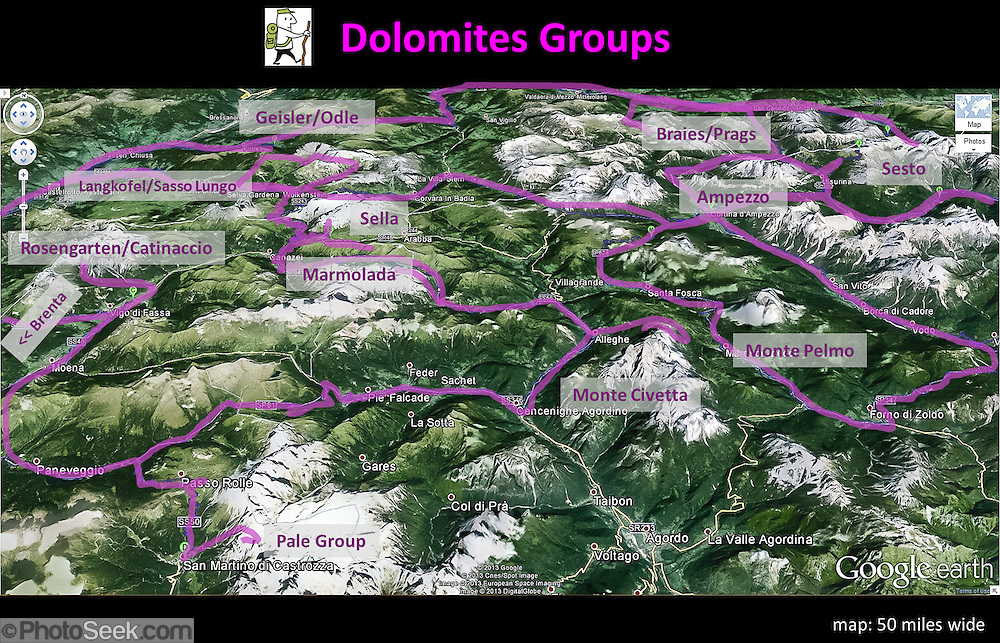 Dolomites Groups map, Italy, Europe (from Google Earth ... on dolomite mountains map, dolomites skiing, swiss alps, tre cime di lavaredo, italian dolomites road map, dolomites italian alps, dolomites switzerland map, southern limestone alps, dolomites hiking, passo gardena, dolomite alps map, riva del garda, monte civetta, alta via 1, sella group, dolomites ski map, passo sella, dolomites world map, south tyrol, dolomites germany,