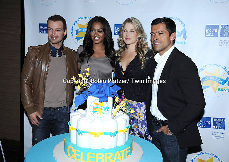 Joey Lawrence, LaLa Anthony, Ali Larter and Mark Consuelos attending The Pampers Event at Mount Sinai Hospital on April 12, 2011 to kick off Little Miracle Missions, a program that supports and protects babies and their families.