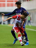 6th November 2019; Vozdovac Stadium, Belgrade, Serbia; UEFA Under 19 UEFA Youth league football, FK Crvena Zvezda under 19s versus Tottenham Hotspur under 19s; J'Nell Bennett of Tottenham Hotspurs FC competes against Stefan Mitrovic of FK Crvena Zvezda