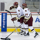 Carl Sneep (BC - 7), Matt Lombardi (BC - 24) - The Boston College Eagles defeated the Merrimack College Warriors 4-3 on Friday, October 30, 2009, at Conte Forum in Chestnut Hill, Massachusetts.
