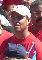 HAVANA, CUBA - MAY 01: Antonio Castro Soto, son of the Cuban President Fidel Castro assists the rally in the Square of the revolution, in Havana, May 1, 2004. Credit: Jorge Rey/MediaPunch