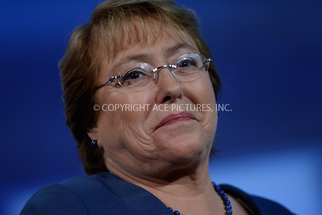 WWW.ACEPIXS.COM<br /> September 22, 2014 New York City<br /> <br /> President of Chile Michelle Bachelet during the Clinton Global Initiative on September 22, 2014 in New York City.<br /> <br /> <br /> By Line: Kristin Callahan/ACE Pictures<br /> ACE Pictures, Inc.<br /> tel: 646 769 0430<br /> Email: info@acepixs.com<br /> www.acepixs.com