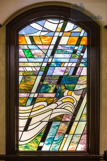 Feb. 11, 2015; Stained glass window, Christ the Teacher Chapel, ACE.  (Photo by Matt Cashore/University of Notre Dame)