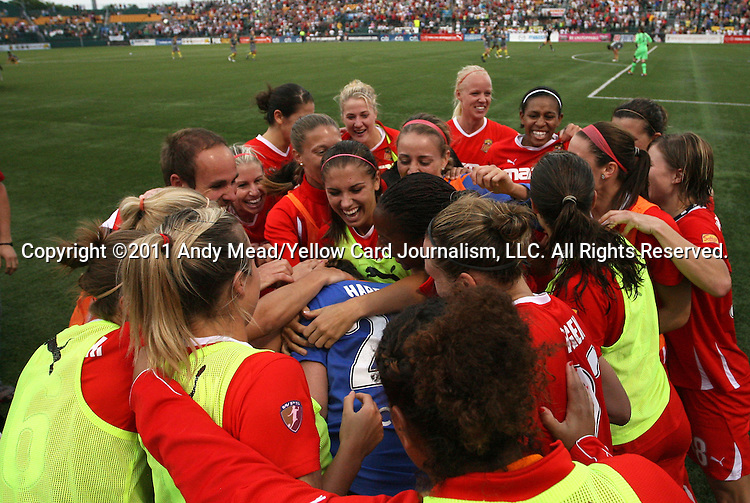 27 August 2011: Western New York's Ashlyn Harris (in blue) is mobbed by teammates after saving a penalty kick to win the championship. Western New York Flash defeated the Philadelphia Independence 5-4 on penalty kicks to win the final after the game ended in a 1-1 tie after overtime at Sahlen's Stadium in Rochester, New York in the Women's Professional Soccer championship game.