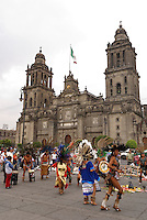 Conchero dancers performing in front of the Metropolitan Cathedral, Mexico City