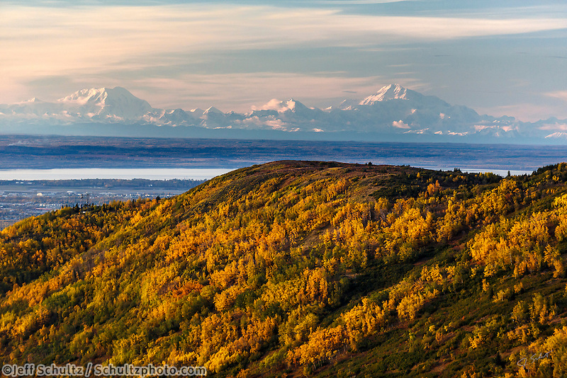 Fall landscape aerial view of  the Chugach Mountain foothills covered in fall colrors with downtown Anchorage, Alaska, JBER, Knik Arm with Denali and the Alaska Range in the background  September 2015