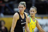 The team captains, Casey Wiliams (NZ, left) and Sharelle McMahon watch the Silver Ferns add to their score. International Netball  - New Zealand Silver Ferns v Australian Diamonds Constellation Cup match at TSB Bank Arena, Wellington on Thursday, 2 September 2010. Photo: Dave Lintott/lintottphoto.co.nz